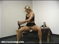 Naughty blonde belle rides a huge dildo for you