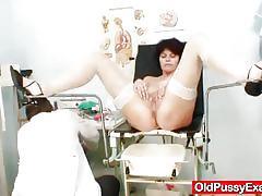 Nasty doctor gapes filthy granny's cunt