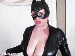 dildo, blonde, toys, masturbation, solo, latex, strip-tease, big-tits, juggs, custome, huge-boobs, catwoman, cosplay, comic