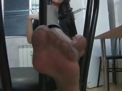 Beautiful dark haired woman in leather tights and grey pantyhose [720p][tease]