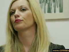 Femdom humiliated sub by sucking on his cock