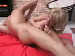 Hot blonde mom fucks with boy