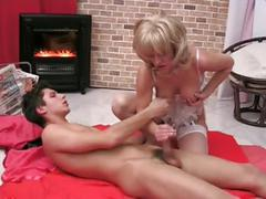 Hot blonde mom fucks with boy