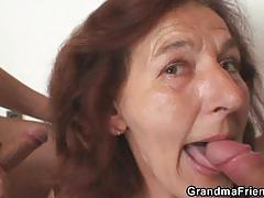 Hot brunette granny gets fucked by two young studs