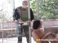 Blonde slut gets gangbanged and creamed