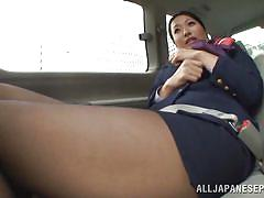 Stewardess masturbates in the car