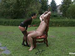 ass licking, outside, cock torture, disgrace, electric wand, chain collar, tied guy, brunette mistress, divine bitches, kink, martin love, sandra romain