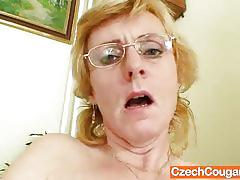 Mature czech blonde strips and masturbates