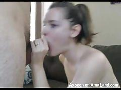 Naughty cutie sucking on stiff cock