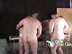 Fat daddies in extreme orgy gay sex