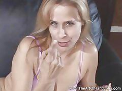 Blonde with pierced cunt jerks off a cock