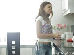 Candy prepares coffee and pussy for her boyfriend.