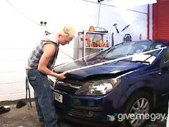 Dirty mechanic gets his twinky cock sucked