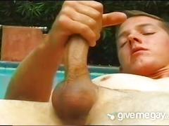 Horny pool boy explodes his sweet cum