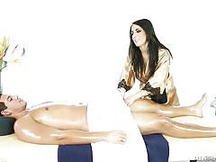 massage, babe, blowjob, brunette, licking balls, oil, massage parlor, nuru massage, tony martinez, alexa aimes