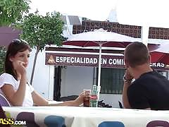 Pretty pick up girl carla threesome fuck outdoors