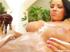 Hot young busty babe dildoing and fingering pussy
