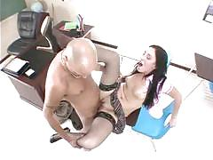 Jamie rubbing her clit while pumping up and down