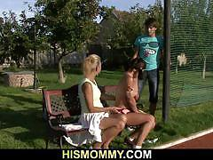 Lesbian granny seduces her son's gf