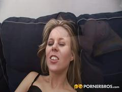 Blonde whore's anal interracial