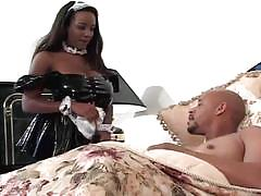 Ebony maid in latex fucked hard by an bbc