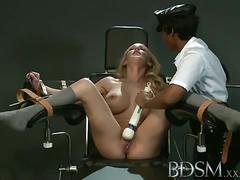 Sensual blonde belle gets dildoed by a horny domme