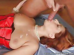 Euro bitch in red corset has a trio with anal sex