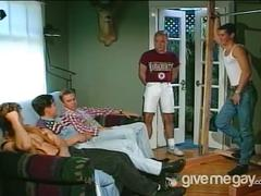 Hot group of guys jerk each other off