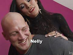 shemale, slim, pantyhose, blowjob, black hair, tranny pros, fame digital, christian xxx, nelly xx