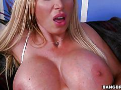 Blonde sex bomb shell gapes her cum filled pussy