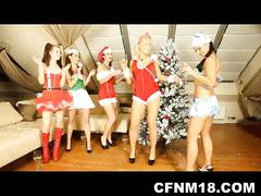Four bitches get nasty and wild during xmas!