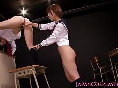 asian, squirting, teen, lesbian, young, schoolgirl, japanese, uniform, costume, eating pussy, hairy pussy, licking pussy
