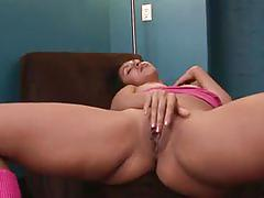 Jennifer curves fucks her tight pussy with a dildo