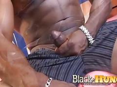 Tiger rock jerking his giant black cock
