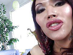 Big breasted shemale gets her cock sucked
