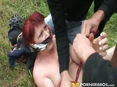 Mature woman followed and forced to fuck