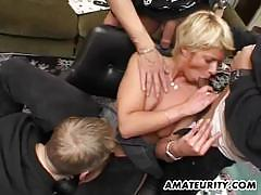 Amateur chick gangbanged fuck with three guys