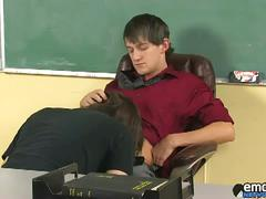 Horny twinks sucking and fucking in the classroom.