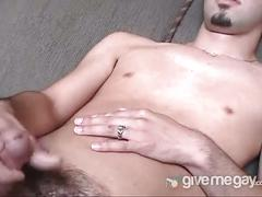 Young stud getting naked and jerking his big meat