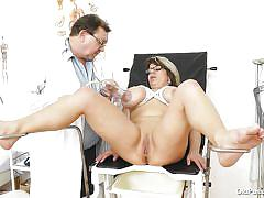 blonde, glasses, czech, big boobs, medical exam, suckers, gynecologist table, doc, medical fetish, old pussy exam, stepanka x