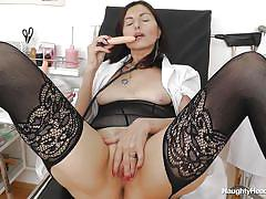 Sensual mature nurse makes some time for herself