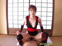 Japanese ninja cosplay beauty rides cock