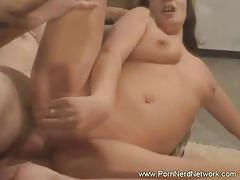 Brunette babe gets her cunt rammed hard by a stud.