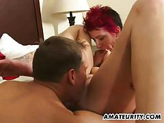 Amateur red babe gets fucked twice in a row.
