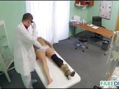 Fake doctor fucks a hot brunette babe