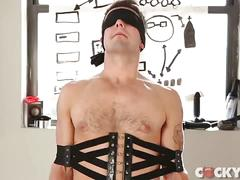Tied slave gets horny torturing