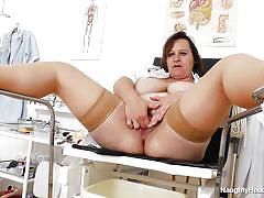 Huge boobs nurse fucks herself