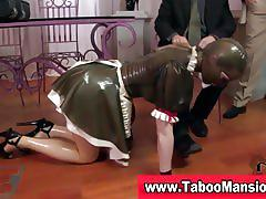 Sexy maid clad in latex gives great head