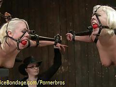 Naked blondes enjoy the punishment