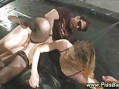 Blonde pissed on and fucked by a gang